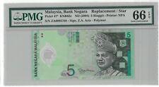 Malaysia RM5 Zeti  ZA Replacement PMG66 EPQ Polymer Banknote