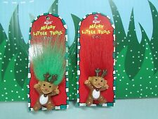 """TWO CHRISTMAS REINDEER PINS  - 1 1/4"""" Russ Troll - NEW ON CARD - Rare"""