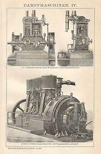 B0051 Motore a Vapore - Xilografia d'epoca - 1901 Vintage engraving