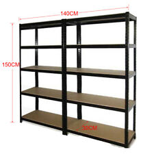2x 0.7M Metal & MDF Board Workshop Racking Storage Garage Shelving Rack Shelves