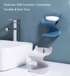 Funde-Rod Double Layer Soap Dish holder, Soap Dishes For Bathroom Etc. New blue