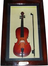 """Shadow Box framed with handmade collectible miniature Cello (11"""" x 6.75"""")"""