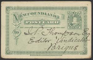 1898 Newfoundland #P3 1c PSC, Whitbourne to Brigus, via St Johns, CB Rwy RPO