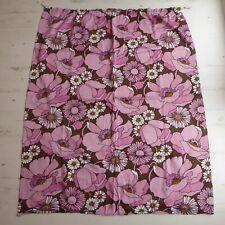 Vintage Retro 70s Single Curtain Flower Power Fabric Poppy Mid Century