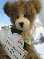 """VINTAGE MOHAIR TEDDY BEAR ARTIST ADVANTAGE BEARS KEY TO MY HEART 16"""" BENTARMS"""