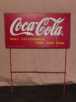 VINTAGE COKE SODA 1998 COCA COLA CO  REAL REFRESHMENT METAL ADVERTISING AD SIGN
