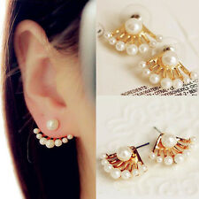 Fashion Womens White Pearl Ear Stud Front & Back Earbob Ladys Earrings Jewelry