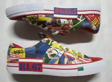 POLO RALPH LAUREN Mens SAYER Collage Multi Printed Canvas-Suede Sneakers Size 14