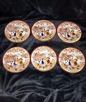 "Antique Japanese 19th Century Set Of 6 Dishes Plates Geishas Gilt 6.25"""