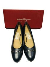 Salvatore Ferragamo Navy Blue Leather Women's Heels