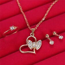 Elegant Heart Butterfly Rhinestone Jewelry Wedding Necklace Earrings Ring 1 Set