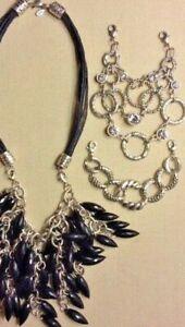 """Premier Designs Jewelry Triplet 16"""" Necklace 3 Interchangeable Bibs Silver Black"""