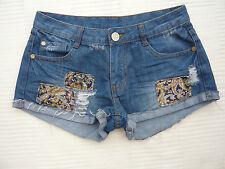 Denim Co distressed / torn denim / patchwork style skimpy shorts Size 8