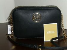 MICHAEL KORS AUTHENTIC FULTON EW CROSSBODY BLACK LEATHER BAG BRAND NEW