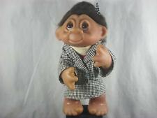 """8"""" 1985 NORFIN LADY EXECUTIVE TROLL BLACK HAIR BLACK & WHITE CHECKED SUIT u616"""