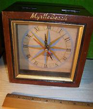 Myrtle Beach Clock in Distressed Wood Hinged Lid Souvenir Box 5 1/2 x 5 1/2 x 4