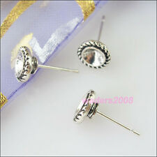 8 New Silver Tone Wire Earrings Hooks Findings for DIY Crafts 15.5mm