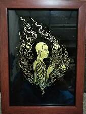 Thai Typical Method Vintage Hand Painting on Glass With Gold Plate Laminated