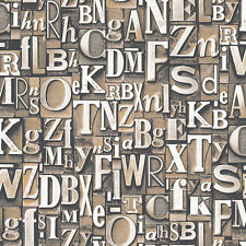 G56205 - Steampunk by Galerie Beige charcoal letter stencil Wallpaper