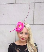Hot Pink Orchid Quill Feather Flower Fascinator Velvet Hat Hair Clip Races 3311