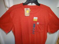 Carhartt mens Short Sleeve Pocket Shirt Original Fit Color Red Size Large