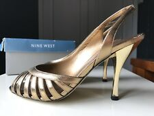 Nine West Gold/Bronze Leather Ladies Women High Heel Sandal Shoe Size 4 37