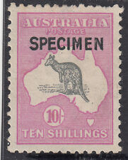 "Kangaroo 10/- stamp 3rd watermark SPECIMEN type ""B"" overprint MH, broken tail"