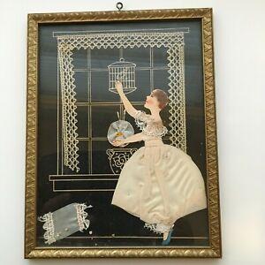 Vintage Framed Folk Art Decoupage Girl of Paper, Fabric, Seed - Charming!