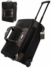 "Bettoni Brown Leather/Black Twill Nylon Trolley Bag 20"" Carry On Bag - New"