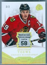 JONATHAN TOEWS 2013-14 DOMINION GAME USED LAUNDRY TAG SP/2