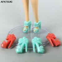 5pair/lots Doll Shoes for Barbie Doll Shoes for 1:6 BJD Dolls Shoes High Sandals