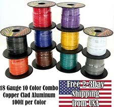 18 Gauge Ga 10 Color Copper Clad 12V Automotive Trailer Hookup Auto Primary Wire