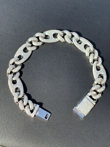 Mens Miami Cuban Iced Gucci Link Bracelet Solid 925 Silver Hip Hop Flooded Out
