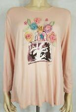 Vintage April Cornell pink 3D flower bouquet long sleeve shirt blouse ladies XL