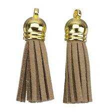 Gamuza con borlas Dijes con casquillo de oro para la fabricación de joyas Luz Marrón 36mm (h14/5)
