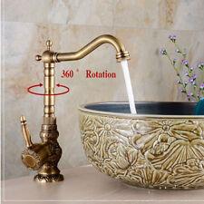 Antique Brass Tall Bathroom Basin Faucet Embossed Body Vanity Sink Mixer Tap