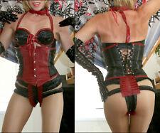 Latex/rubber gorgeous black/red trim waist cincher waspie corset small