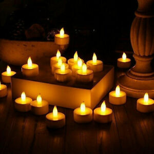 12/24pcs LED Tea Lights Flameless Flickering Candles Battery Operated Home Decor
