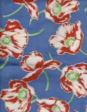 Closed Blue Feedsack Fabric with Large Rust and Green Flowers, 20-2-5