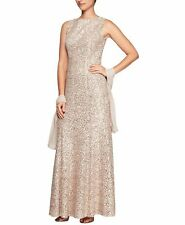 $450 ALEX EVENINGS WOMEN'S BEIGE SEQUINED LACE SLEEVELESS HIGH-NECK DRESS SIZE 8