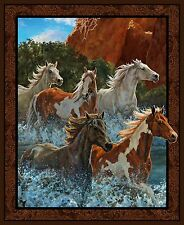 Wild Wings Rivers Edge Horses Panel 100% cotton fabric panel