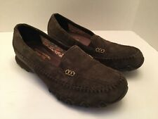 Womens Skechers Relaxed Fit Memory Foam Brown Suede Loafer Shoes Size 9
