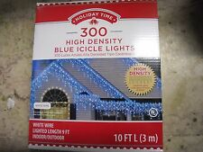 New ! Holiday Time 300PK High Density Blue Icicle Lights White Wire 10 FT Long