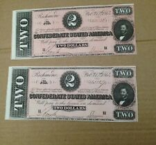 2 Confederate Currency Two Dollar Consecutive Number Notes 1864 civil war money