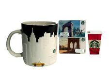 Starbucks New York Coffee Mug Cup NYC Skyline Taxi Black White Relief 3 Bonus