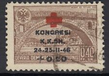 ALBANIA :1946 Albanian Red Cross Congress overprint 40q+20q  SG 454 fine used