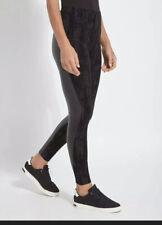 Lysse Spire Black Flocked Velvet Faux Leather High Waist Leggings  Large NWT