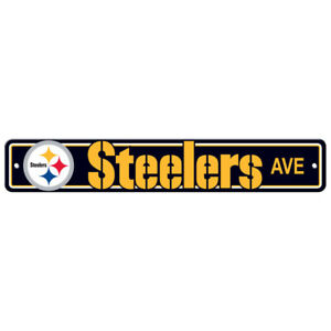 """Pittsburgh Steelers Street Sign NEW! 4"""" X 24"""" """"Steelers Ave."""" Man Cave NFL"""