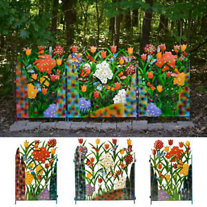 Colorful Garden Decortion 3-Panel Metal Butterfly And Flower Garden Screen