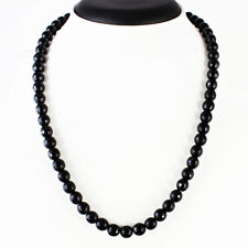 200.00 CTS NATURAL EXCLUSIVE RICH BLACK SPINEL ROUND CUT BEADS NECKLACE STRAND